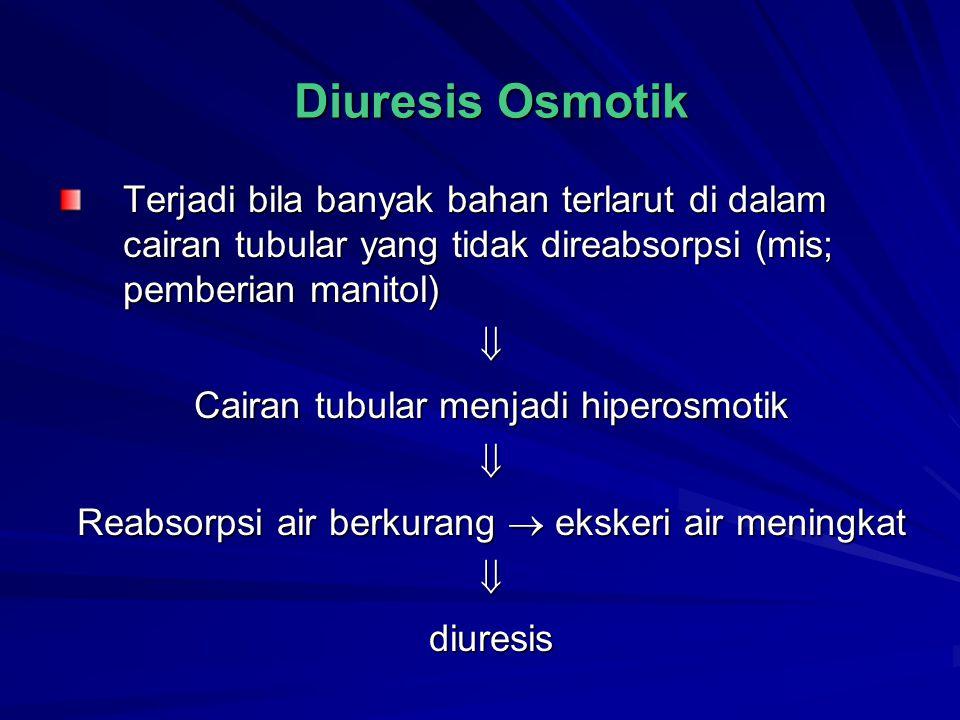 Diuresis Osmotik Terjadi bila banyak bahan terlarut di dalam cairan tubular yang tidak direabsorpsi (mis; pemberian manitol)  Cairan tubular menjadi