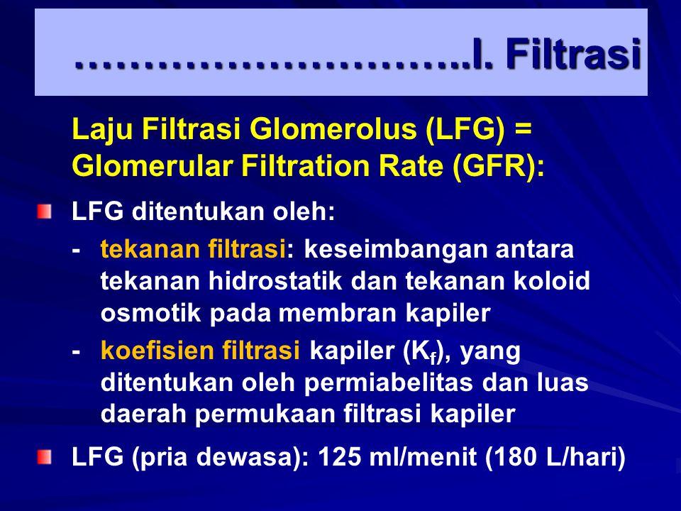 PgPg gg P KB Pg : Tekanan hidrostatik glomerolus: 60 mmHg  g : Tekanan osmotik koloid glomerolus: 32 mmHg PKB : Tekanan kapsula Bowman: 18 mmHg  Tekanan filtrasi: 60-32-18= 10 mmHg Kapiler glomerolus Kapsula Bowman Tekanan Filtrasi …………………………I.