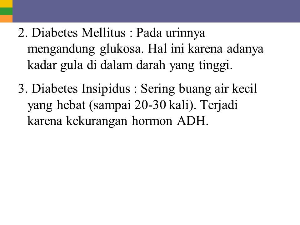 2. Diabetes Mellitus : Pada urinnya mengandung glukosa. Hal ini karena adanya kadar gula di dalam darah yang tinggi. 3. Diabetes Insipidus : Sering bu