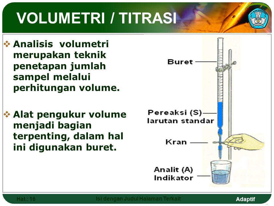 Adaptif VOLUMETRI / TITRASI  Analisis volumetri merupakan teknik penetapan jumlah sampel melalui perhitungan volume.