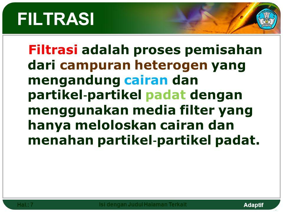 Adaptif FILTRASI Filtrasi adalah proses pemisahan dari campuran heterogen yang mengandung cairan dan partikel ‐ partikel padat dengan menggunakan media filter yang hanya meloloskan cairan dan menahan partikel ‐ partikel padat.
