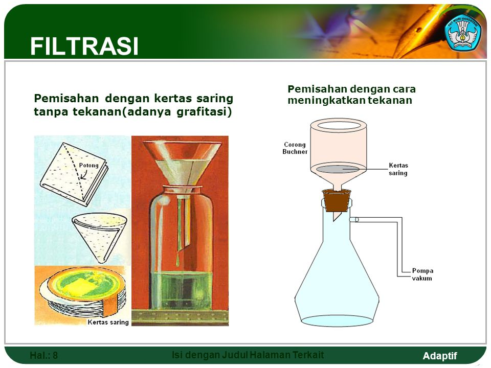 Adaptif KRISTALISASI Pemisahan dengan teknik kristalisasi didasari atas pelepasan pelarut dari zat terlarutnya dalam sebuah campuran homogen atau larutan, sehingga terbentuk kristal dari zat terlarutnya.
