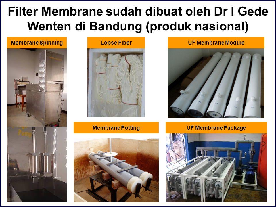 Filter Membrane sudah dibuat oleh Dr I Gede Wenten di Bandung (produk nasional) Membrane SpinningLoose Fiber UF Membrane PackageMembrane Potting UF Me