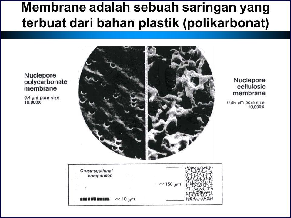 Membrane adalah sebuah saringan yang terbuat dari bahan plastik (polikarbonat)