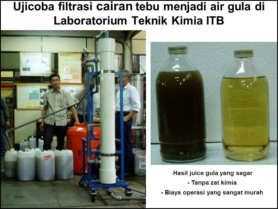 Ujicoba filtrasi cairan tebu menjadi air gula di Laboratorium Teknik Kimia ITB - Hasil juice gula yang segar - Tanpa zat kimia - Biaya operasi yang sa