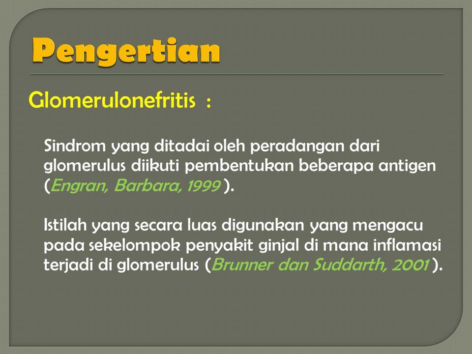 Glomerulonefritis : Sindrom yang ditadai oleh peradangan dari glomerulus diikuti pembentukan beberapa antigen (Engran, Barbara, 1999 ).