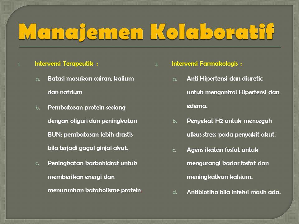 1.Intervensi Terapeutik : a. Batasi masukan cairan, kalium dan natrium b.