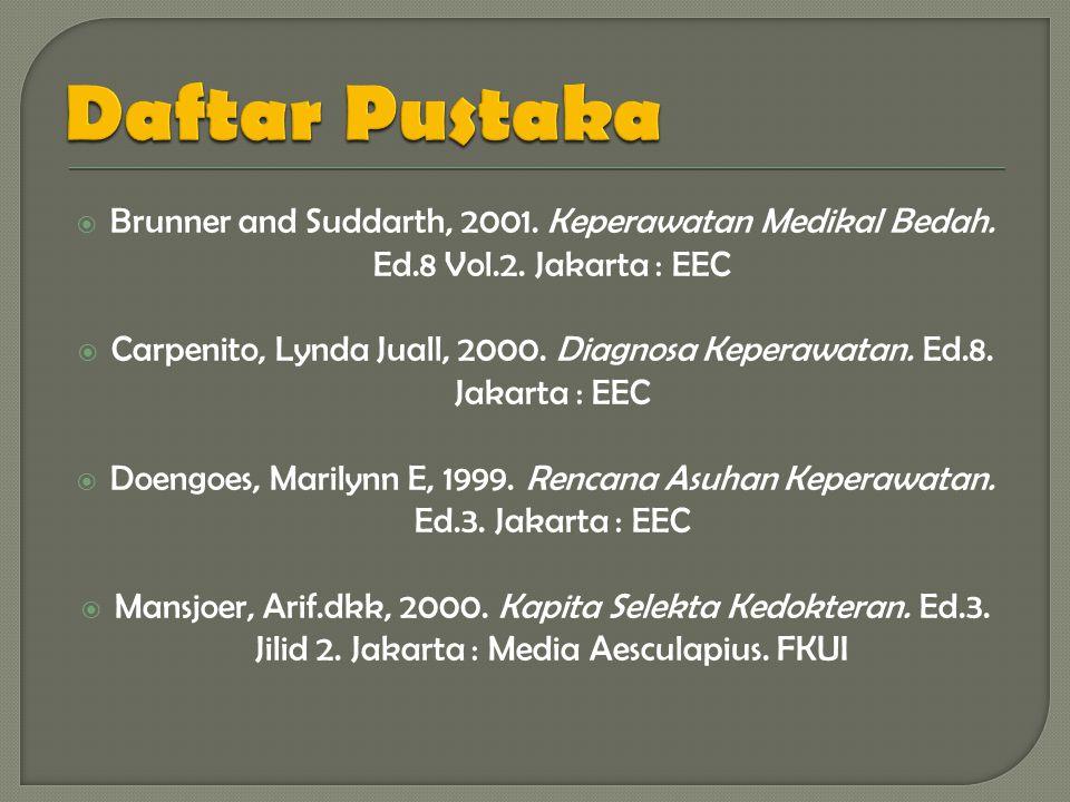  Brunner and Suddarth, 2001.Keperawatan Medikal Bedah.