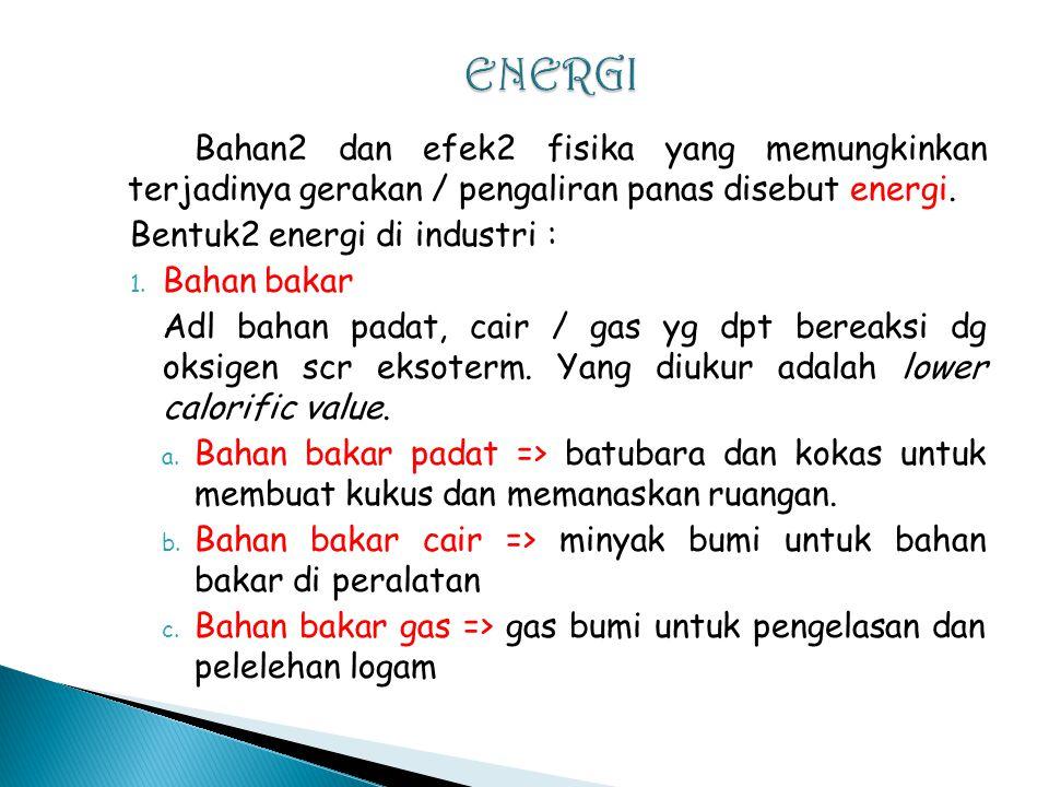 Bahan2 dan efek2 fisika yang memungkinkan terjadinya gerakan / pengaliran panas disebut energi.