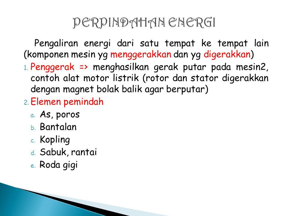 Pengaliran energi dari satu tempat ke tempat lain (komponen mesin yg menggerakkan dan yg digerakkan) 1.
