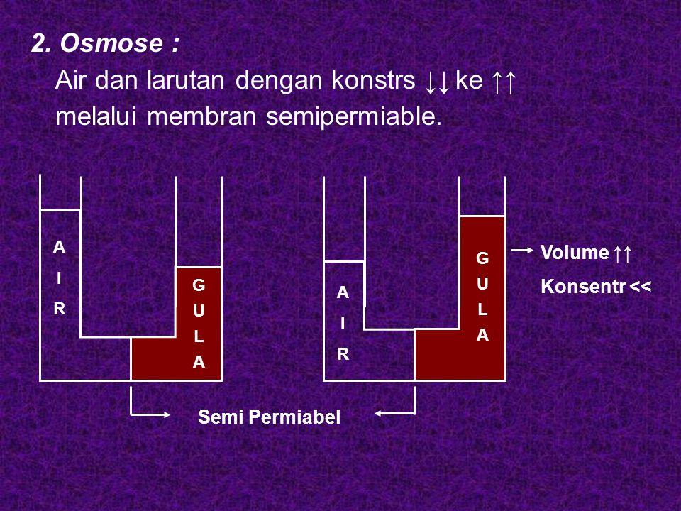 2. Osmose : Air dan larutan dengan konstrs ↓↓ ke ↑↑ melalui membran semipermiable. A I R A I R G U L A G U L A Semi Permiabel Volume ↑↑ Konsentr <<