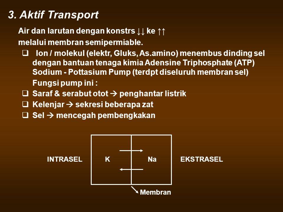 3. Aktif Transport Air dan larutan dengan konstrs ↓↓ ke ↑↑ melalui membran semipermiable.  Ion / molekul (elektr, Gluks, As.amino) menembus dinding s