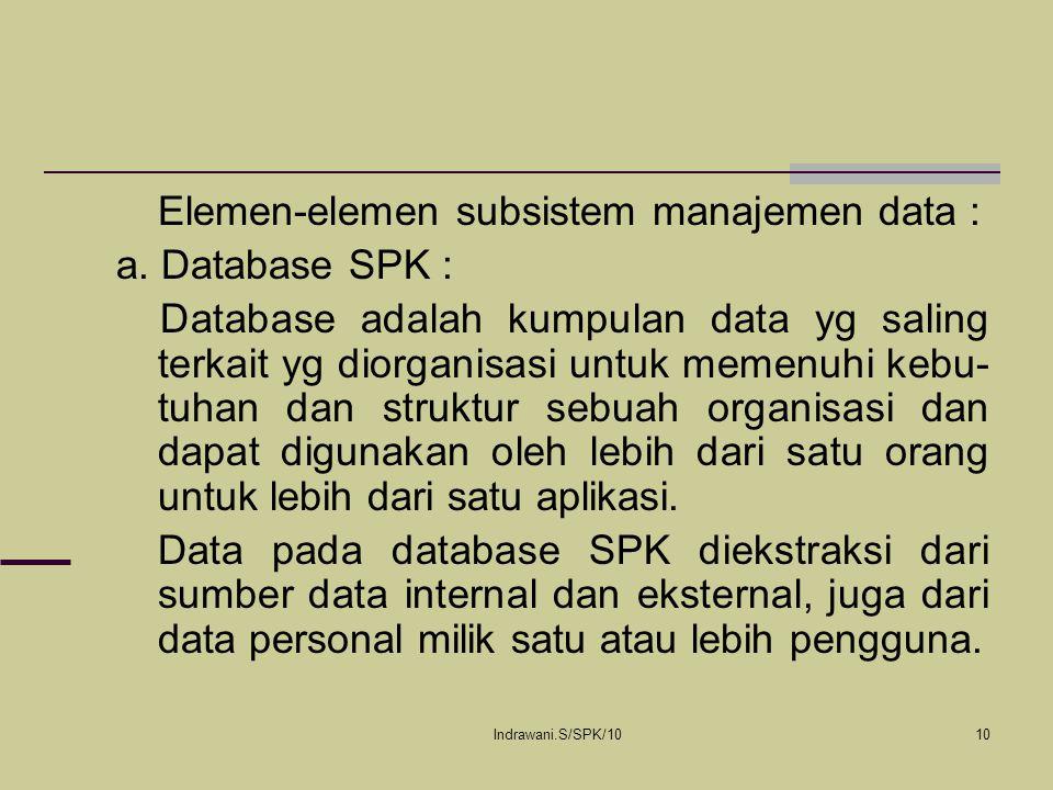 Indrawani.S/SPK/1010 Elemen-elemen subsistem manajemen data : a. Database SPK : Database adalah kumpulan data yg saling terkait yg diorganisasi untuk