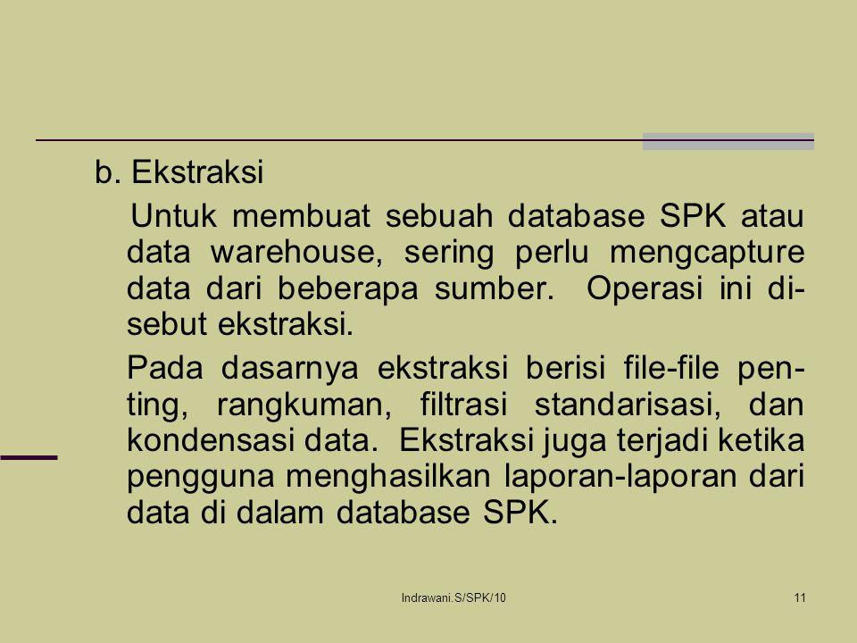 Indrawani.S/SPK/1011 b. Ekstraksi Untuk membuat sebuah database SPK atau data warehouse, sering perlu mengcapture data dari beberapa sumber. Operasi i