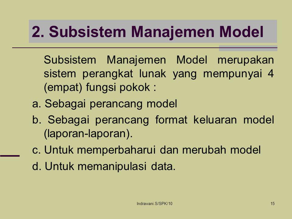 Indrawani.S/SPK/1015 2. Subsistem Manajemen Model Subsistem Manajemen Model merupakan sistem perangkat lunak yang mempunyai 4 (empat) fungsi pokok : a