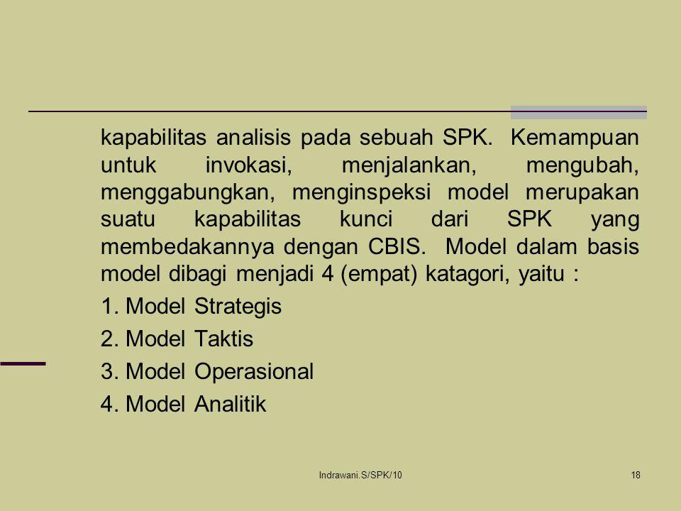 Indrawani.S/SPK/1018 kapabilitas analisis pada sebuah SPK. Kemampuan untuk invokasi, menjalankan, mengubah, menggabungkan, menginspeksi model merupaka