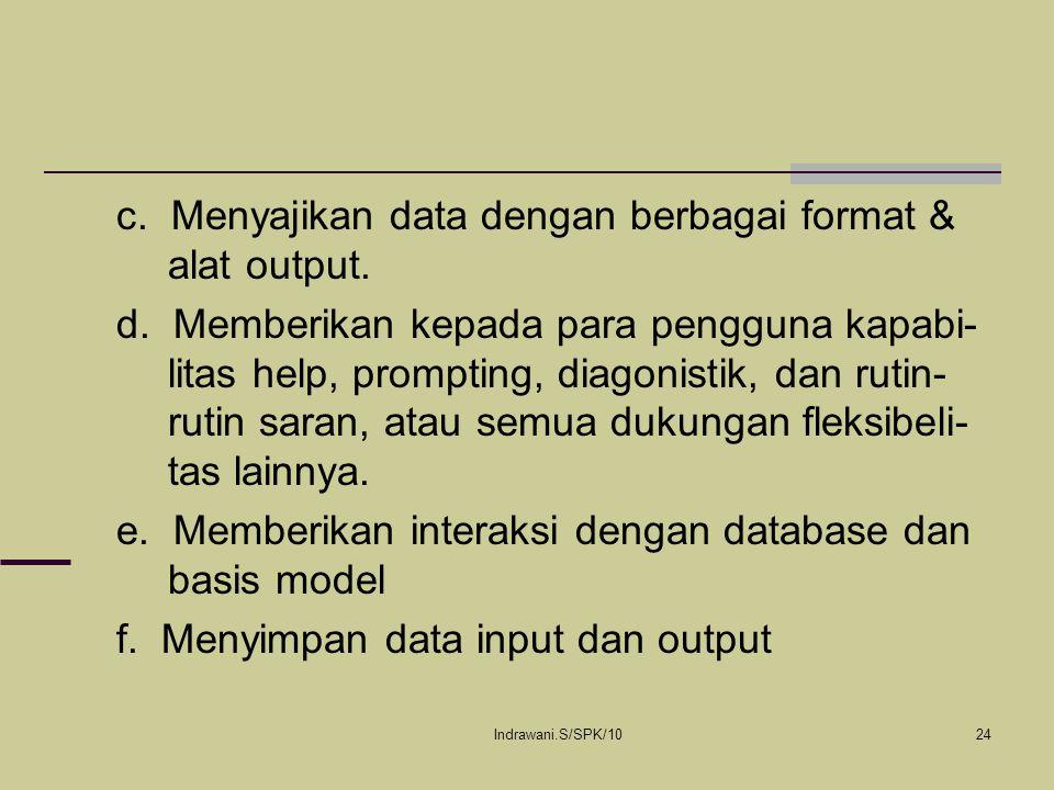 Indrawani.S/SPK/1024 c. Menyajikan data dengan berbagai format & alat output. d. Memberikan kepada para pengguna kapabi- litas help, prompting, diagon