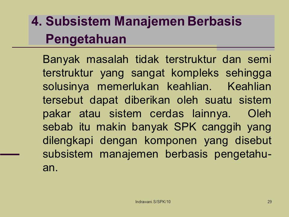 Indrawani.S/SPK/1029 4. Subsistem Manajemen Berbasis Pengetahuan Banyak masalah tidak terstruktur dan semi terstruktur yang sangat kompleks sehingga s