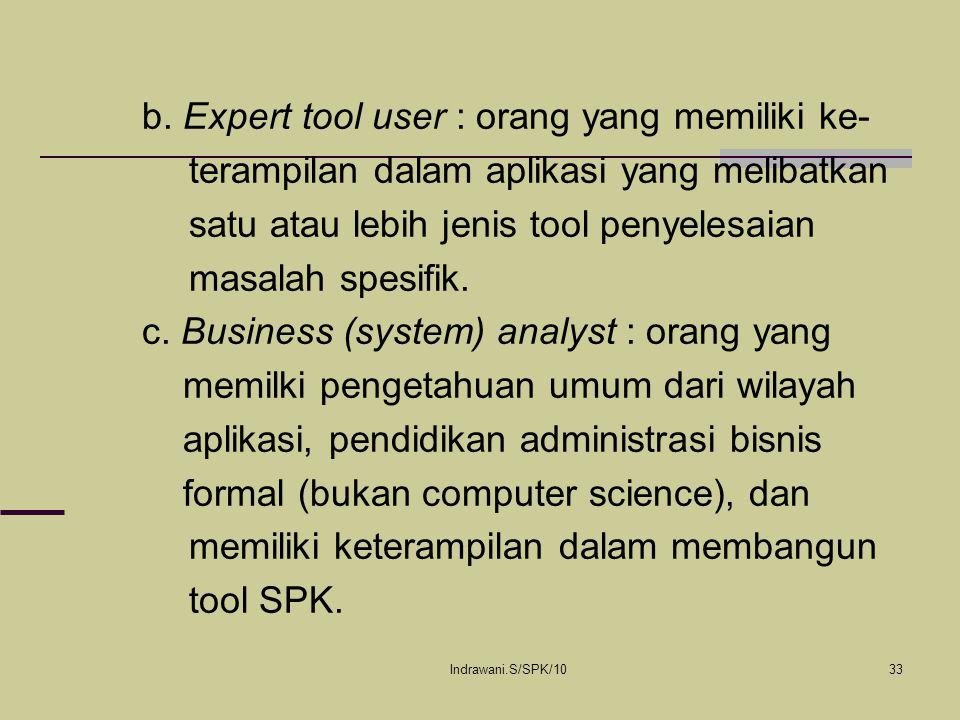 Indrawani.S/SPK/1033 b. Expert tool user : orang yang memiliki ke- terampilan dalam aplikasi yang melibatkan satu atau lebih jenis tool penyelesaian m