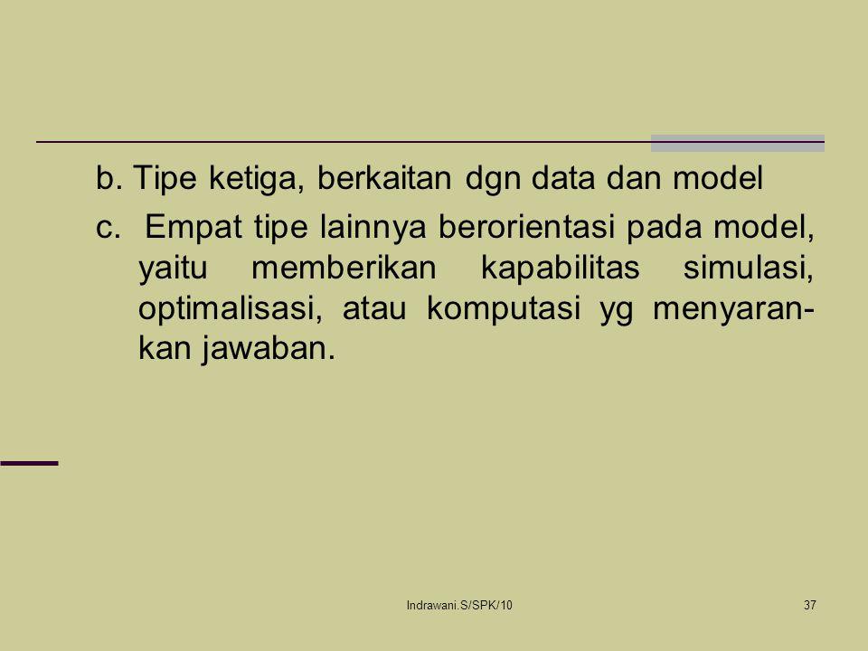 Indrawani.S/SPK/1037 b. Tipe ketiga, berkaitan dgn data dan model c. Empat tipe lainnya berorientasi pada model, yaitu memberikan kapabilitas simulasi