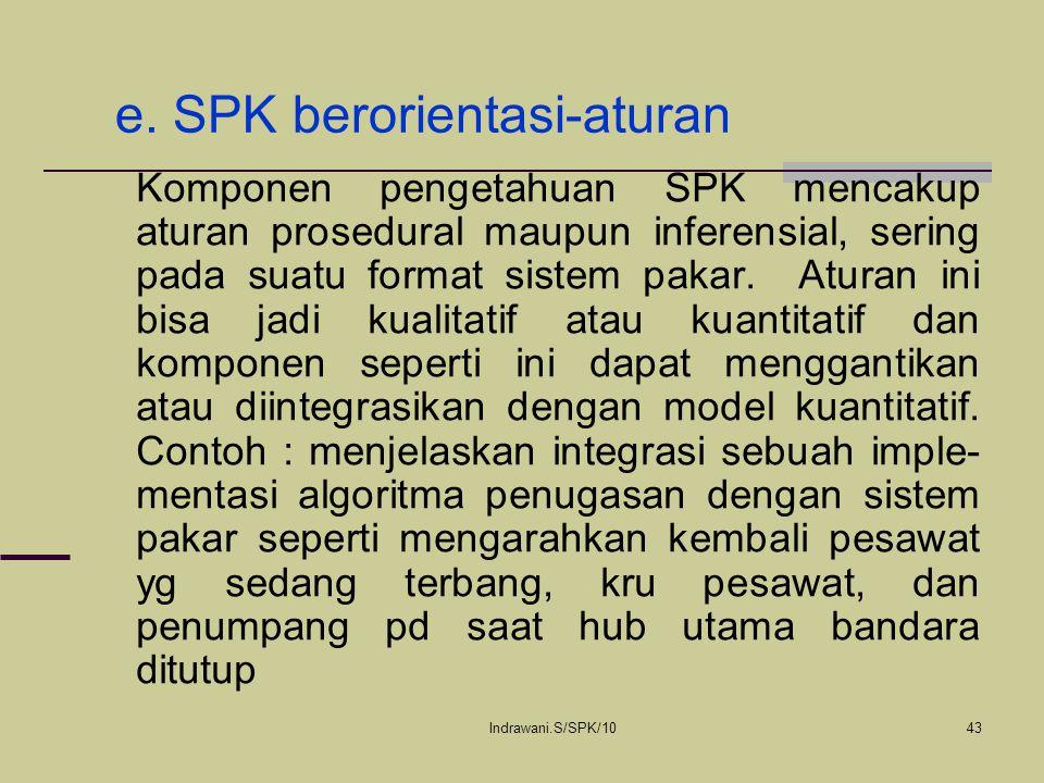 Indrawani.S/SPK/1043 e. SPK berorientasi-aturan Komponen pengetahuan SPK mencakup aturan prosedural maupun inferensial, sering pada suatu format siste