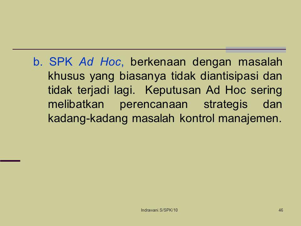 Indrawani.S/SPK/1046 b. SPK Ad Hoc, berkenaan dengan masalah khusus yang biasanya tidak diantisipasi dan tidak terjadi lagi. Keputusan Ad Hoc sering m