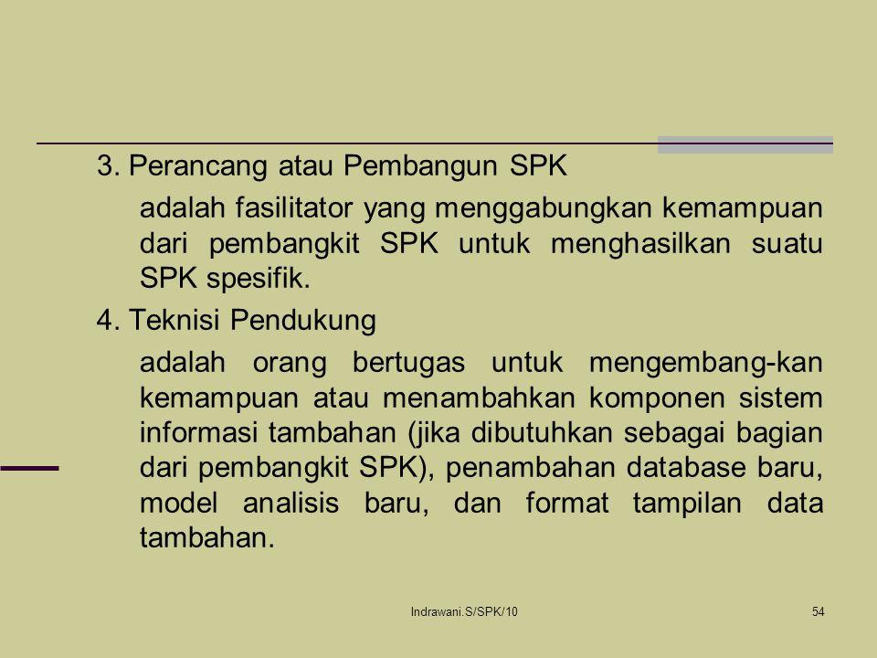 Indrawani.S/SPK/1054 3. Perancang atau Pembangun SPK adalah fasilitator yang menggabungkan kemampuan dari pembangkit SPK untuk menghasilkan suatu SPK