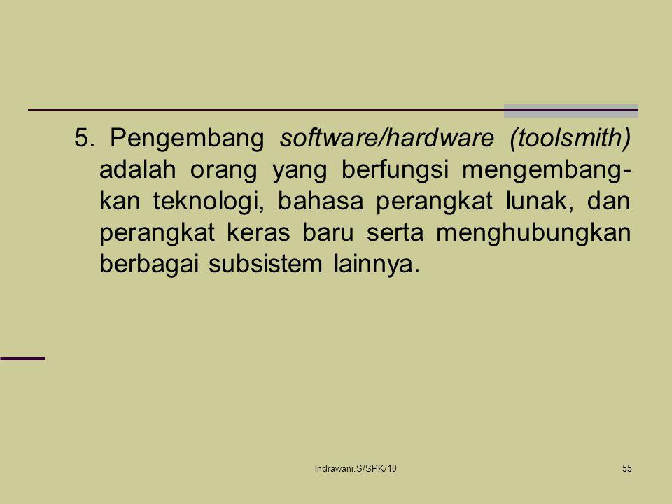 Indrawani.S/SPK/1055 5. Pengembang software/hardware (toolsmith) adalah orang yang berfungsi mengembang- kan teknologi, bahasa perangkat lunak, dan pe