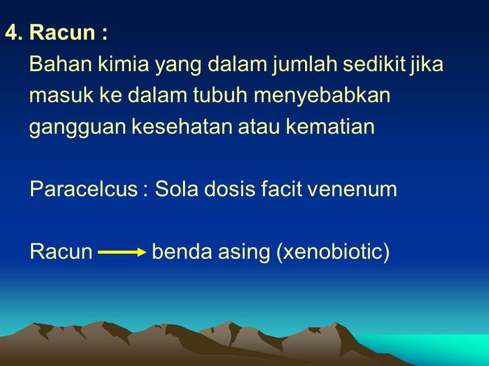 4. Racun : Bahan kimia yang dalam jumlah sedikit jika masuk ke dalam tubuh menyebabkan gangguan kesehatan atau kematian Paracelcus : Sola dosis facit