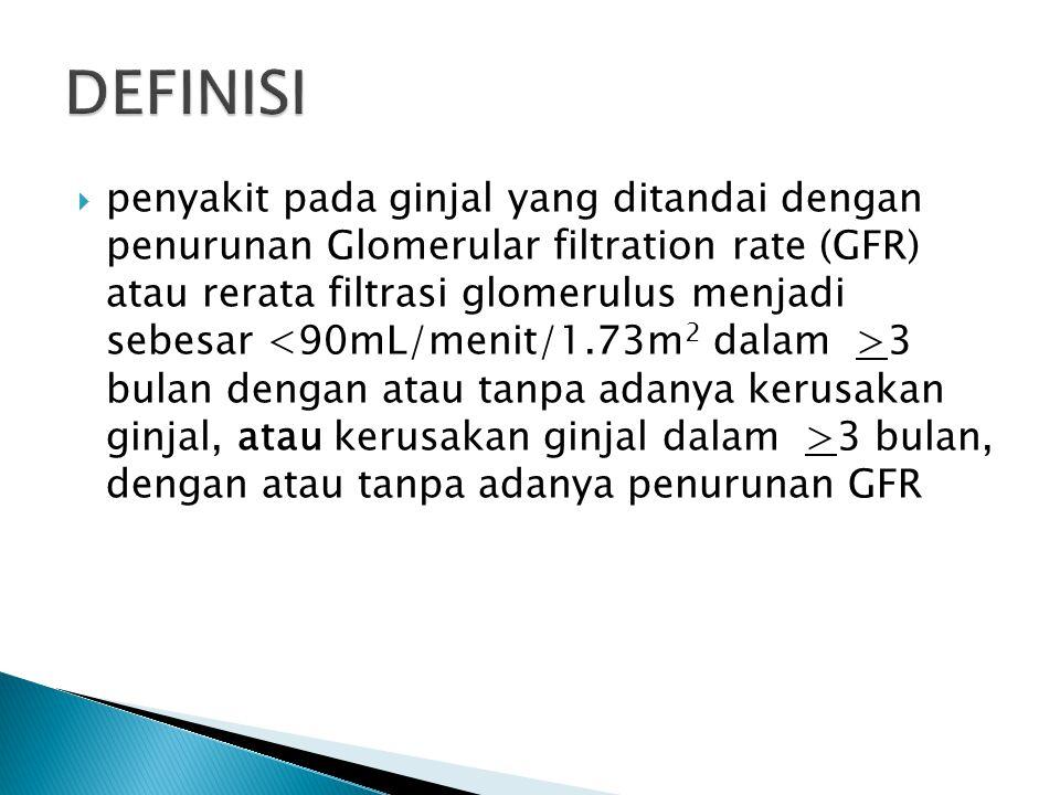  penyakit pada ginjal yang ditandai dengan penurunan Glomerular filtration rate (GFR) atau rerata filtrasi glomerulus menjadi sebesar 3 bulan dengan