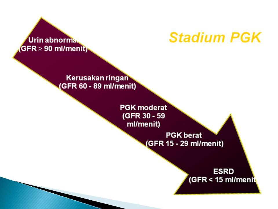 Penyebab terbanyak PGK adalah : 1.Nefropati DM 2.