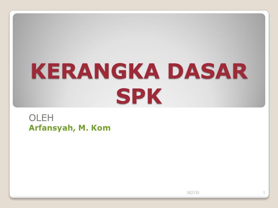 KERANGKA DASAR SPK OLEH Arfansyah, M. Kom 0621301