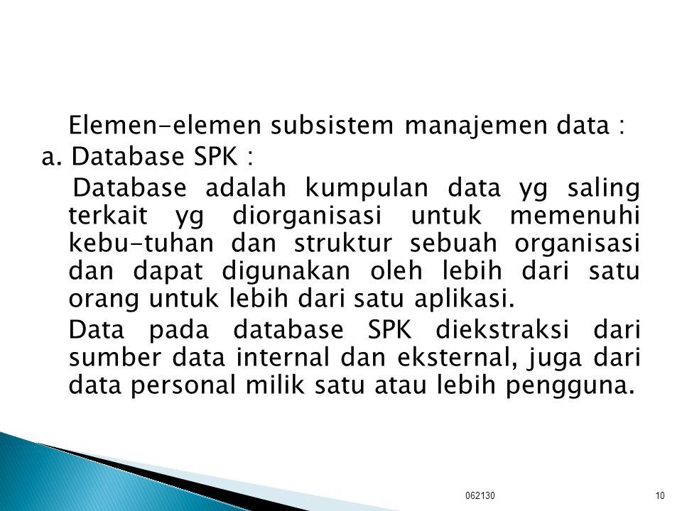 Elemen-elemen subsistem manajemen data : a. Database SPK : Database adalah kumpulan data yg saling terkait yg diorganisasi untuk memenuhi kebu-tuhan d