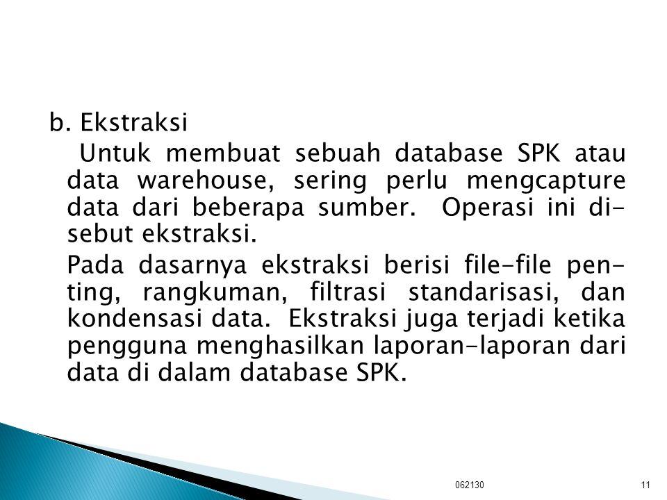 b. Ekstraksi Untuk membuat sebuah database SPK atau data warehouse, sering perlu mengcapture data dari beberapa sumber. Operasi ini di- sebut ekstraks