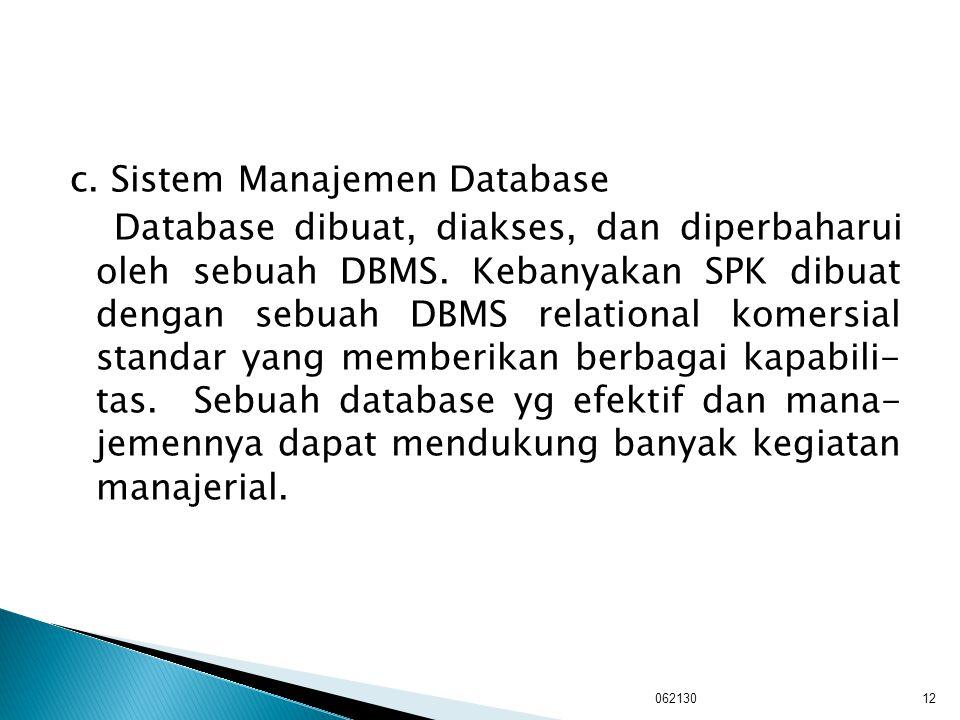 c. Sistem Manajemen Database Database dibuat, diakses, dan diperbaharui oleh sebuah DBMS. Kebanyakan SPK dibuat dengan sebuah DBMS relational komersia