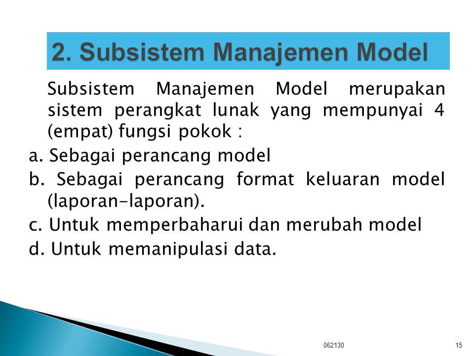 Subsistem Manajemen Model merupakan sistem perangkat lunak yang mempunyai 4 (empat) fungsi pokok : a. Sebagai perancang model b. Sebagai perancang for
