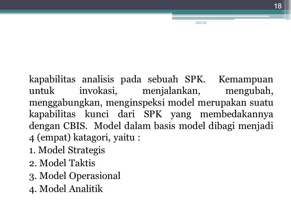 kapabilitas analisis pada sebuah SPK. Kemampuan untuk invokasi, menjalankan, mengubah, menggabungkan, menginspeksi model merupakan suatu kapabilitas k