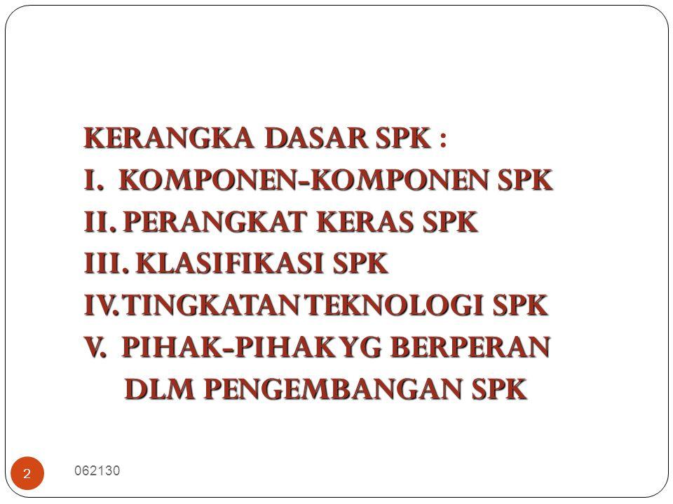 2 KERANGKA DASAR SPK KERANGKA DASAR SPK : I. KOMPONEN-KOMPONEN SPK II. PERANGKAT KERAS SPK III. KLASIFIKASI SPK IV. TINGKATAN TEKNOLOGI SPK V. PIHAK-P
