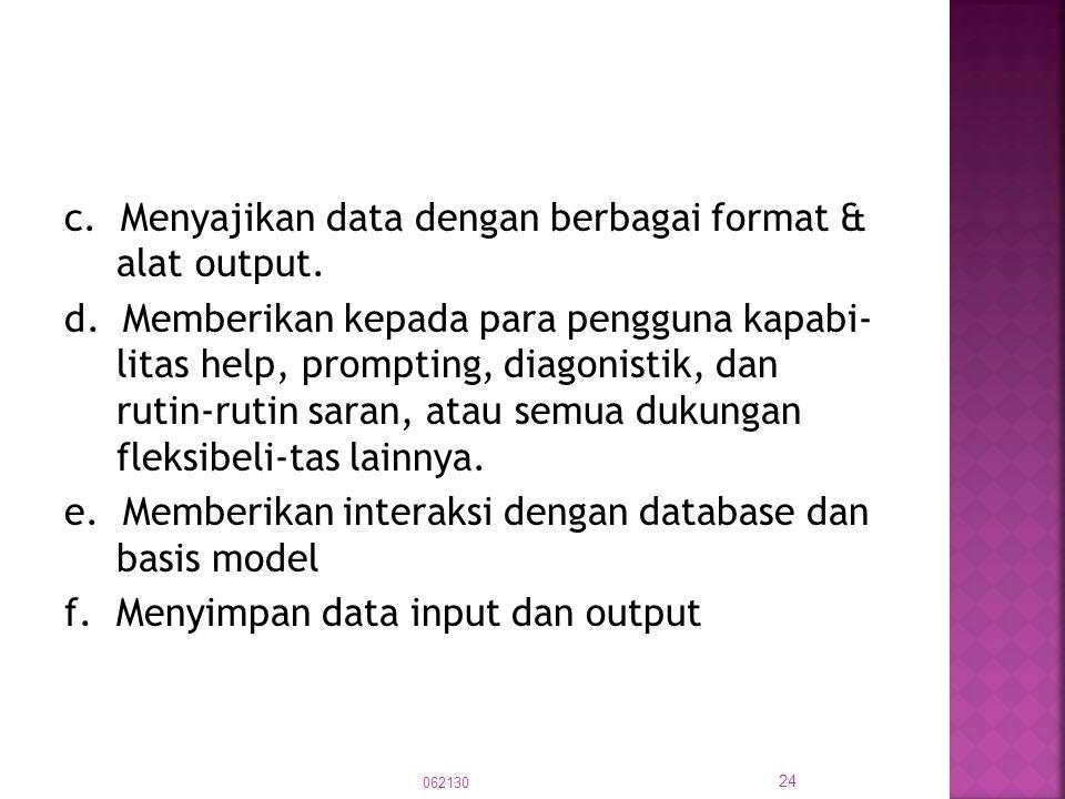 c. Menyajikan data dengan berbagai format & alat output. d. Memberikan kepada para pengguna kapabi- litas help, prompting, diagonistik, dan rutin-ruti