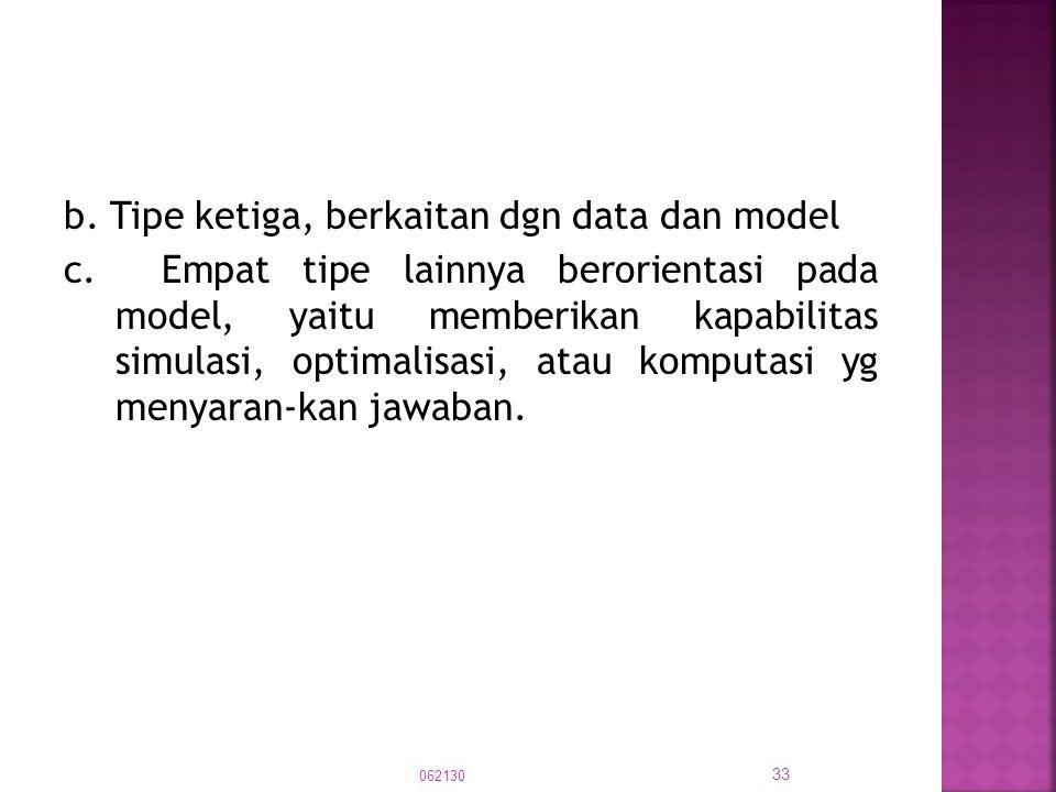 b. Tipe ketiga, berkaitan dgn data dan model c. Empat tipe lainnya berorientasi pada model, yaitu memberikan kapabilitas simulasi, optimalisasi, atau