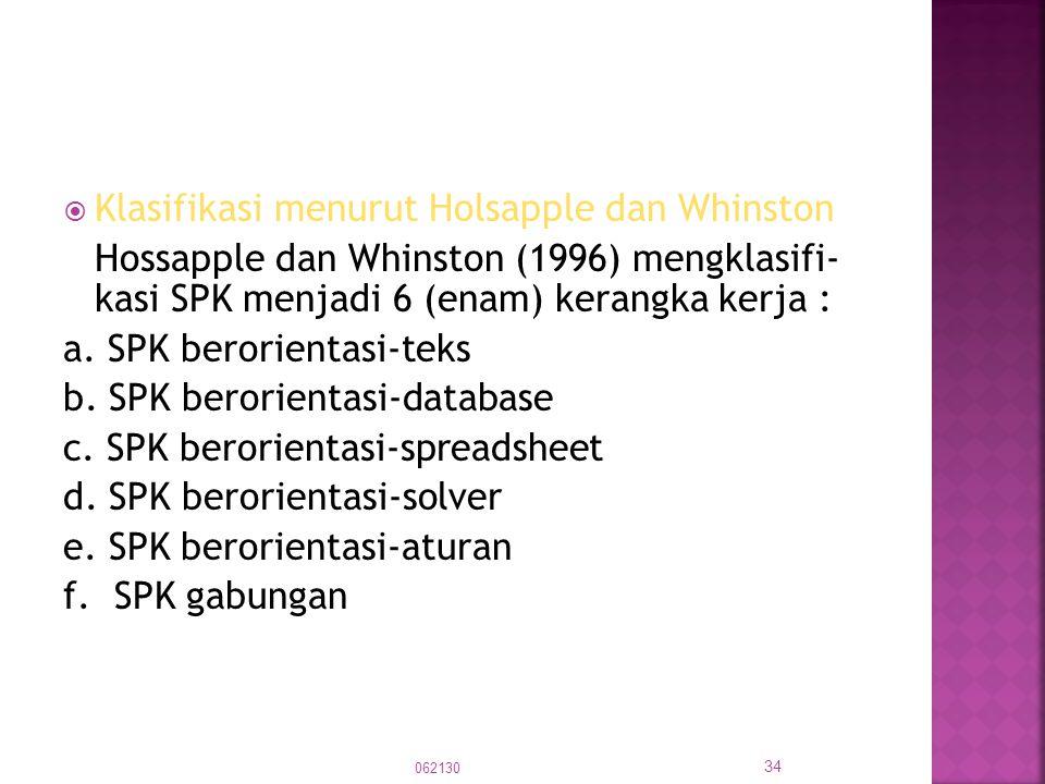  Klasifikasi menurut Holsapple dan Whinston Hossapple dan Whinston (1996) mengklasifi- kasi SPK menjadi 6 (enam) kerangka kerja : a. SPK berorientasi