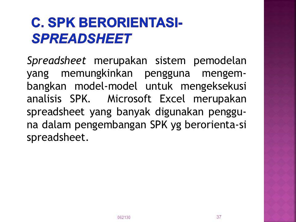Spreadsheet merupakan sistem pemodelan yang memungkinkan pengguna mengem- bangkan model-model untuk mengeksekusi analisis SPK. Microsoft Excel merupak