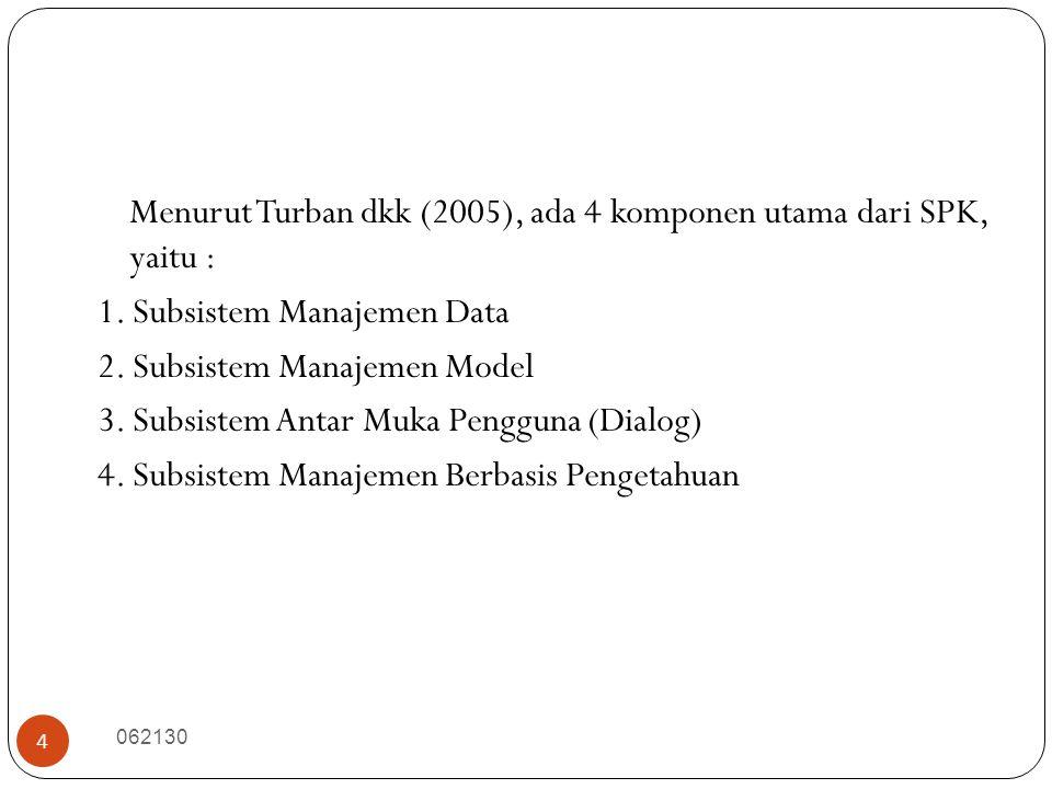 062130 4 Menurut Turban dkk (2005), ada 4 komponen utama dari SPK, yaitu : 1. Subsistem Manajemen Data 2. Subsistem Manajemen Model 3. Subsistem Antar