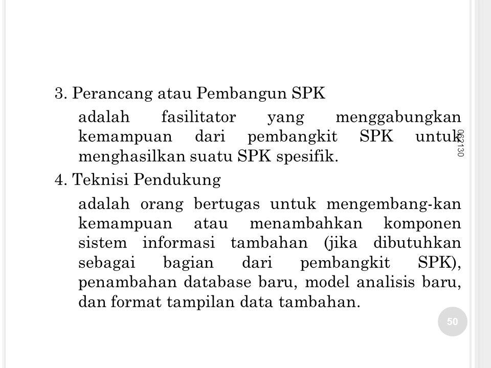 3. Perancang atau Pembangun SPK adalah fasilitator yang menggabungkan kemampuan dari pembangkit SPK untuk menghasilkan suatu SPK spesifik. 4. Teknisi