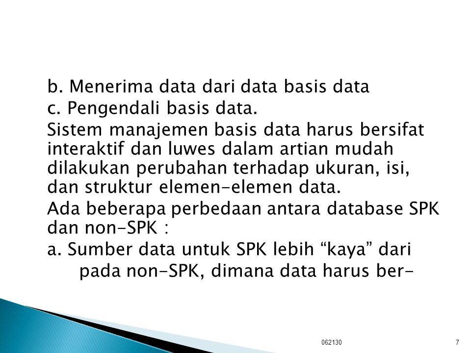b. Menerima data dari data basis data c. Pengendali basis data. Sistem manajemen basis data harus bersifat interaktif dan luwes dalam artian mudah dil