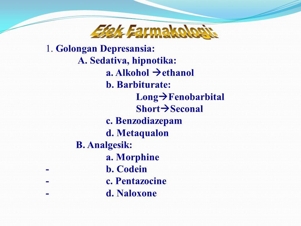 1. Golongan Depresansia: A. Sedativa, hipnotika: a.