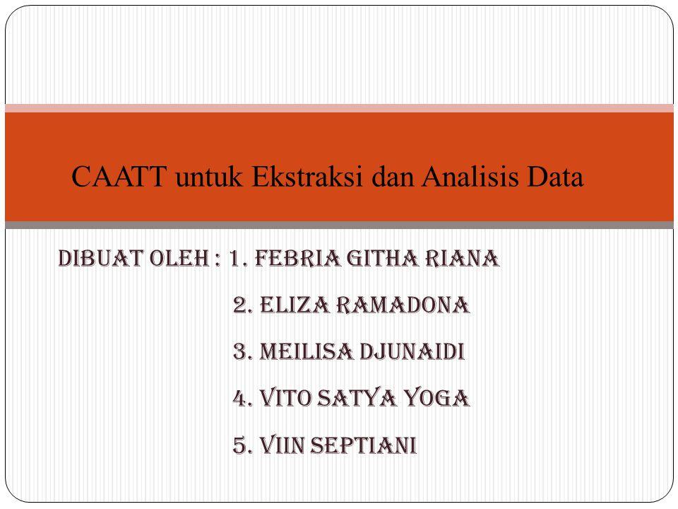 Dibuat oleh : 1. Febria Githa Riana 2. Eliza Ramadona 3. Meilisa Djunaidi 4. Vito Satya Yoga 5. Viin Septiani CAATT untuk Ekstraksi dan Analisis Data