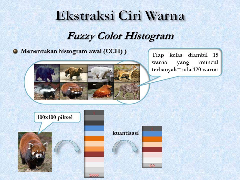 Fuzzy Color Histogram Tiap kelas diambil 15 warna yang muncul terbanyak= ada 120 warna 100x100 piksel kuantisasi Menentukan histogram awal (CCH) ) Men
