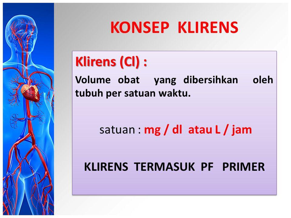KONSEP KLIRENS Klirens (Cl) : Volume obat yang dibersihkan oleh tubuh per satuan waktu.