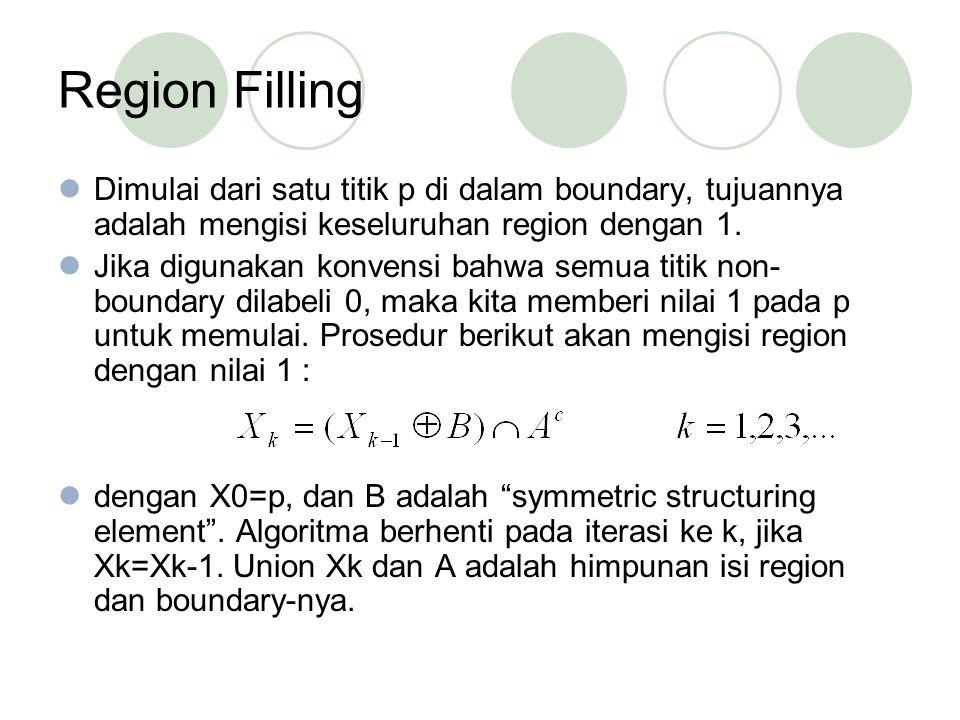 Region Filling Dimulai dari satu titik p di dalam boundary, tujuannya adalah mengisi keseluruhan region dengan 1. Jika digunakan konvensi bahwa semua